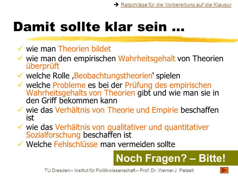 TU Dresden – Institut für Politikwissenschaft – Prof. Dr. Werner J. Patzelt Damit sollte klar sein … wie man Theorien bildet wie man den empirischen W
