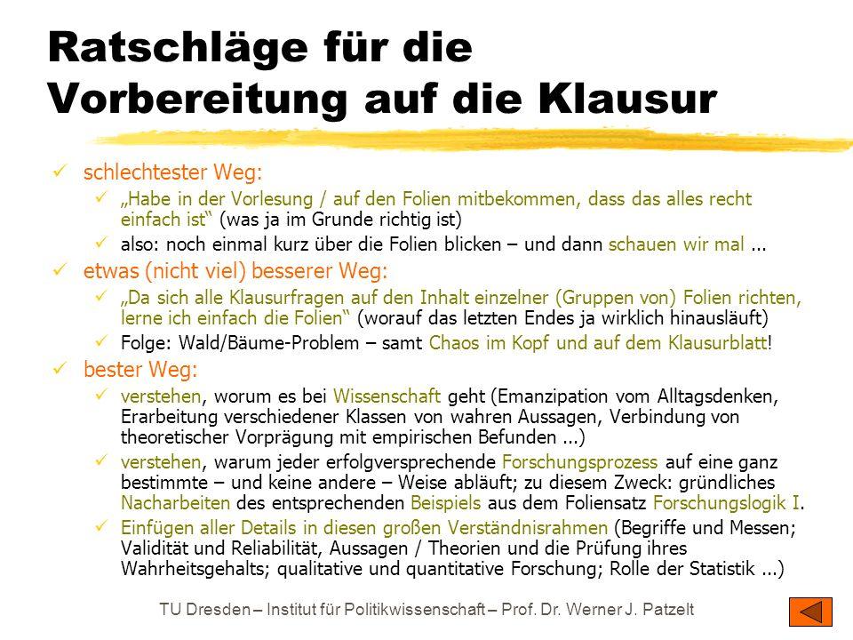 TU Dresden – Institut für Politikwissenschaft – Prof. Dr. Werner J. Patzelt Ratschläge für die Vorbereitung auf die Klausur schlechtester Weg: Habe in