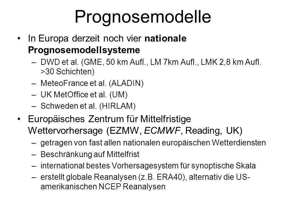 Prognosemodelle In Europa derzeit noch vier nationale Prognosemodellsysteme –DWD et al. (GME, 50 km Aufl., LM 7km Aufl., LMK 2,8 km Aufl. >30 Schichte