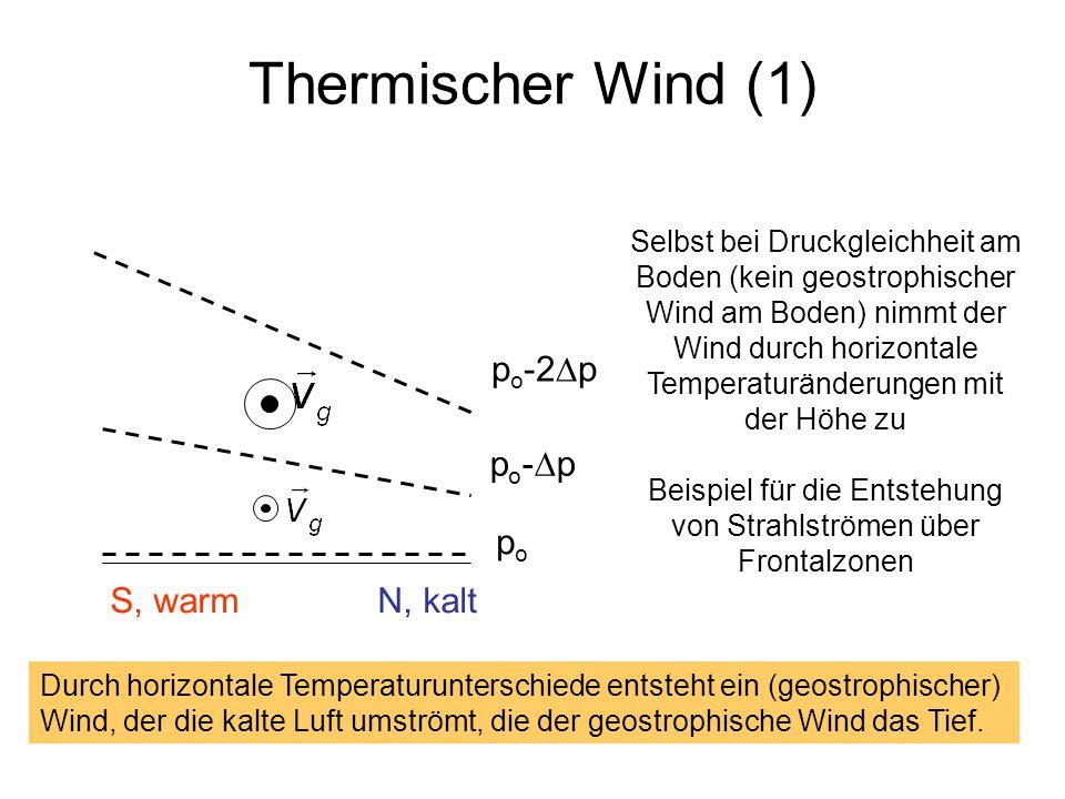 Thermischer Wind (1) popo S, warm N, kalt p o - p p o -2 p Selbst bei Druckgleichheit am Boden (kein geostrophischer Wind am Boden) nimmt der Wind dur