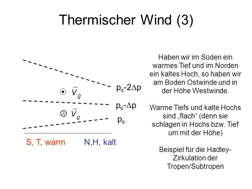 Thermischer Wind (3) popo S, T, warm N,H, kalt p o - p p o -2 p Haben wir im Süden ein warmes Tief und im Norden ein kaltes Hoch, so haben wir am Bode
