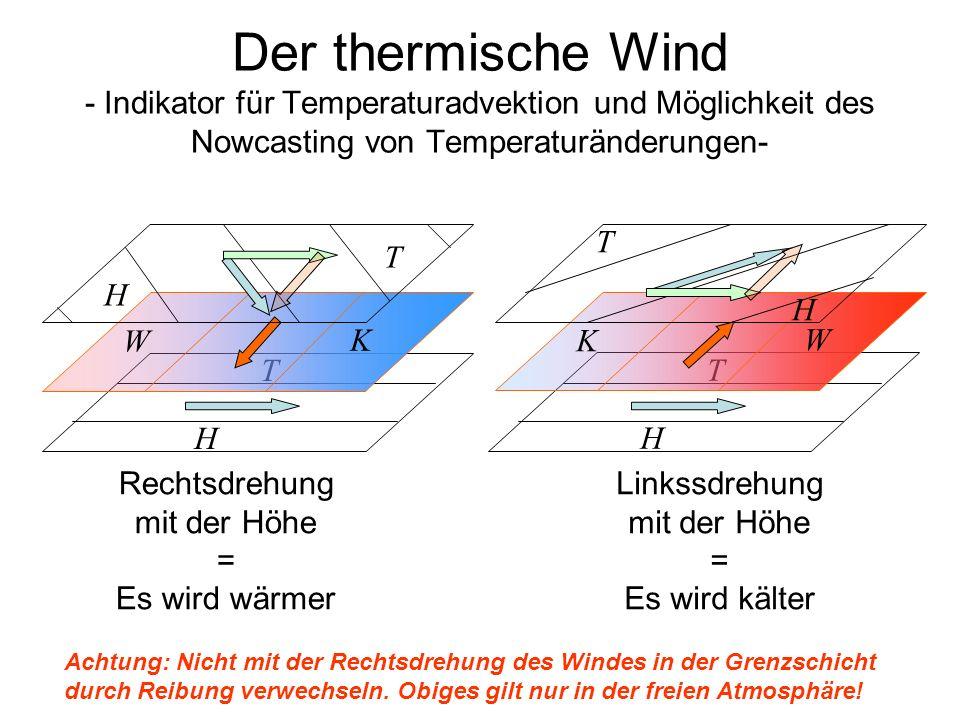 Der thermische Wind - Indikator für Temperaturadvektion und Möglichkeit des Nowcasting von Temperaturänderungen- H T W K H T H T K W H T Rechtsdrehung
