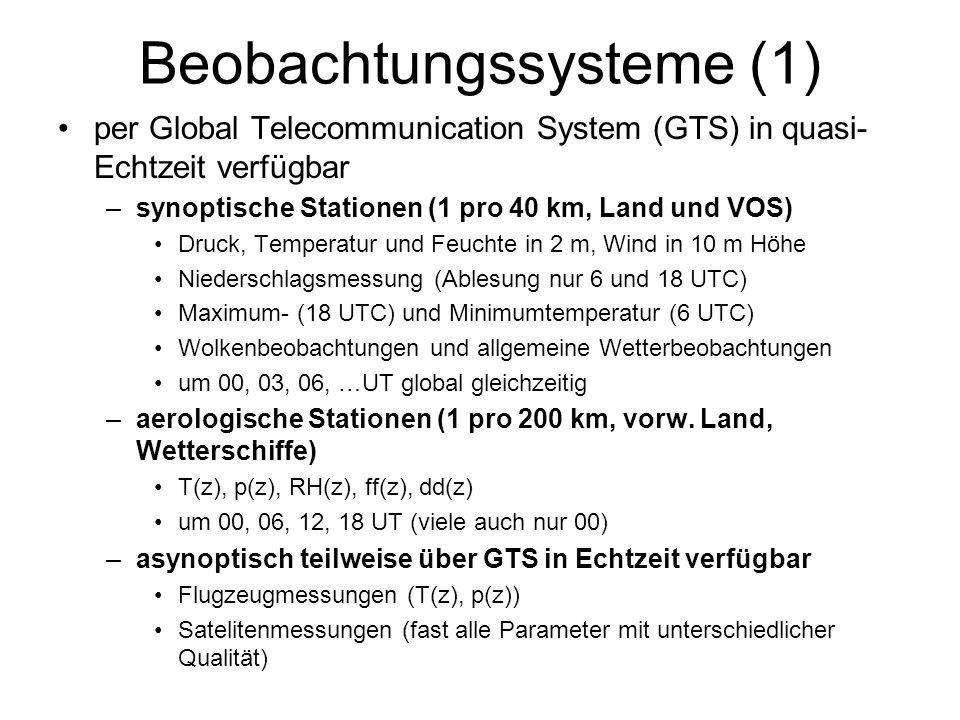 Beobachtungssysteme (1) per Global Telecommunication System (GTS) in quasi- Echtzeit verfügbar –synoptische Stationen (1 pro 40 km, Land und VOS) Druc