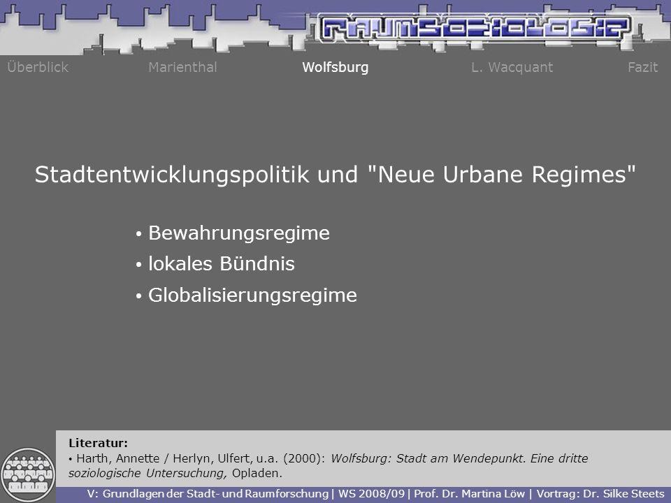 ÜberblickMarienthalWolfsburgL. WacquantFazit Literatur: Harth, Annette / Herlyn, Ulfert, u.a. (2000): Wolfsburg: Stadt am Wendepunkt. Eine dritte sozi