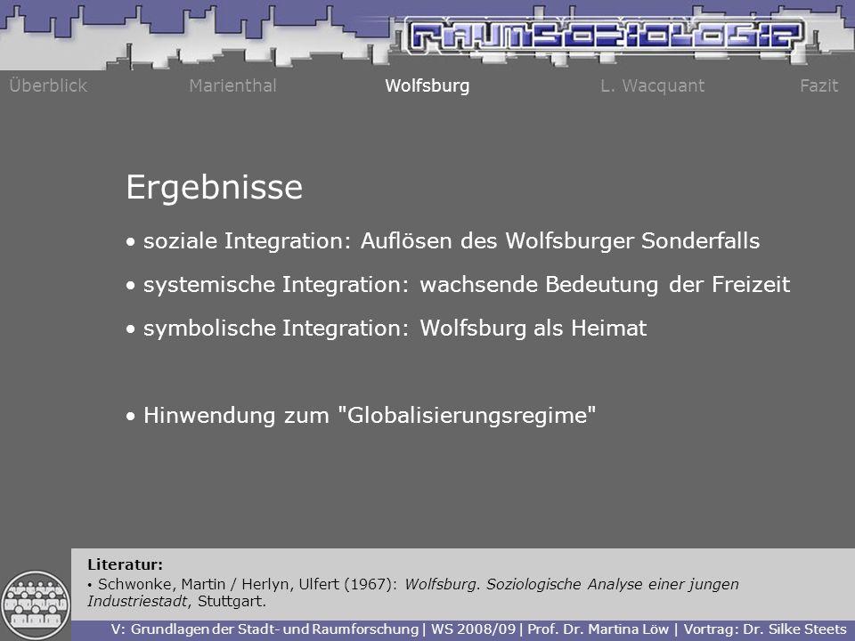 ÜberblickMarienthalWolfsburgL. WacquantFazit Literatur: Schwonke, Martin / Herlyn, Ulfert (1967): Wolfsburg. Soziologische Analyse einer jungen Indust