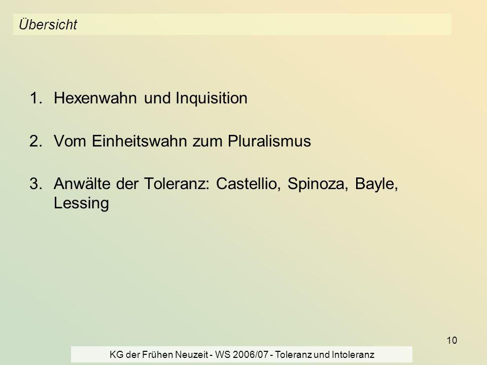 KG der Frühen Neuzeit - WS 2006/07 - Toleranz und Intoleranz 10 Übersicht 1.Hexenwahn und Inquisition 2.Vom Einheitswahn zum Pluralismus 3.Anwälte der