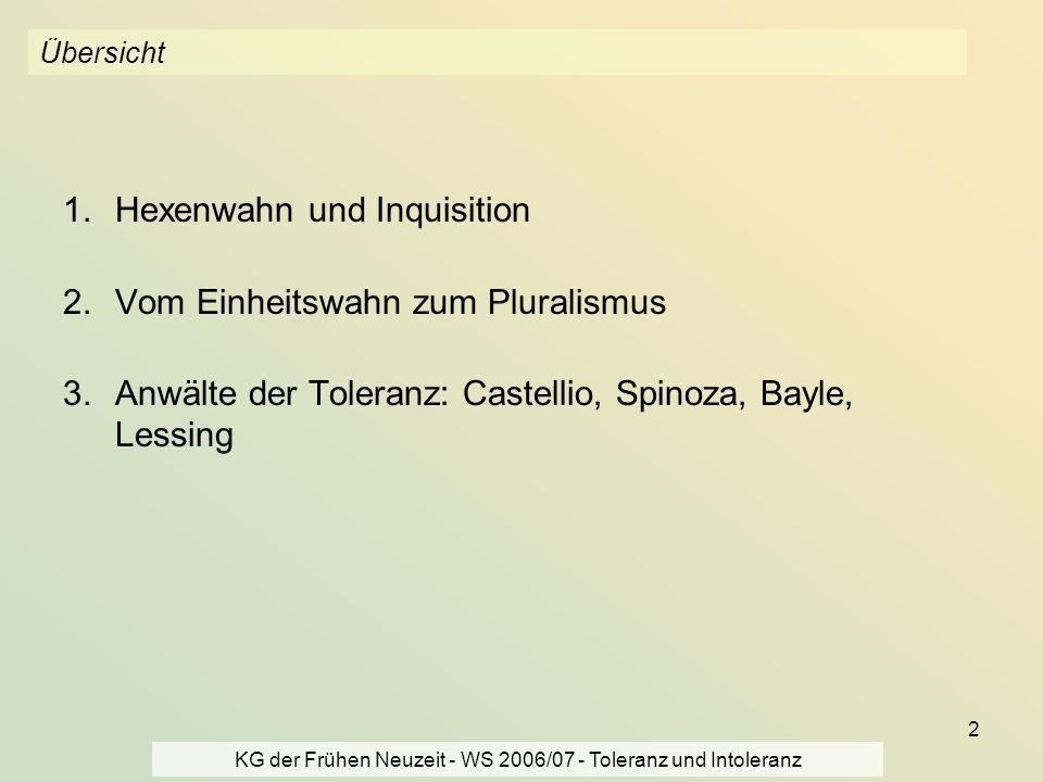 KG der Frühen Neuzeit - WS 2006/07 - Toleranz und Intoleranz 2 Übersicht 1.Hexenwahn und Inquisition 2.Vom Einheitswahn zum Pluralismus 3.Anwälte der