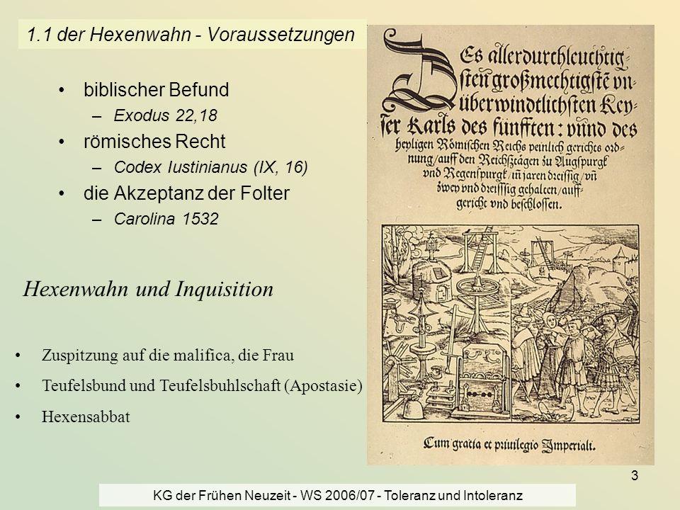 KG der Frühen Neuzeit - WS 2006/07 - Toleranz und Intoleranz 3 1.1 der Hexenwahn - Voraussetzungen biblischer Befund –Exodus 22,18 römisches Recht –Co