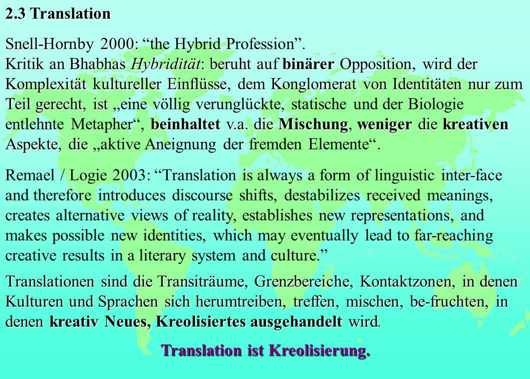 Snell-Hornby 2000: Snell-Hornby 2000: the Hybrid Profession. Kritik an Bhabhas Hybridität: beruht auf binärer Opposition, wird der Komplexität kulture