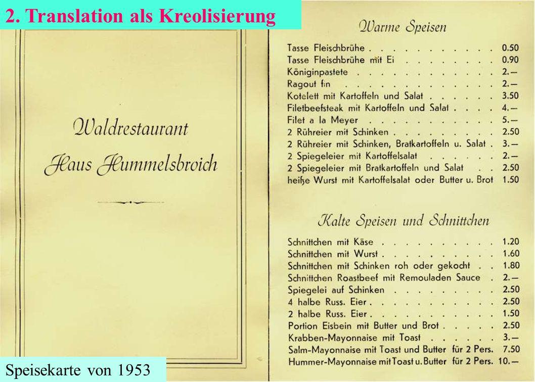 Speisekarte von 1953 2. Translation als Kreolisierung