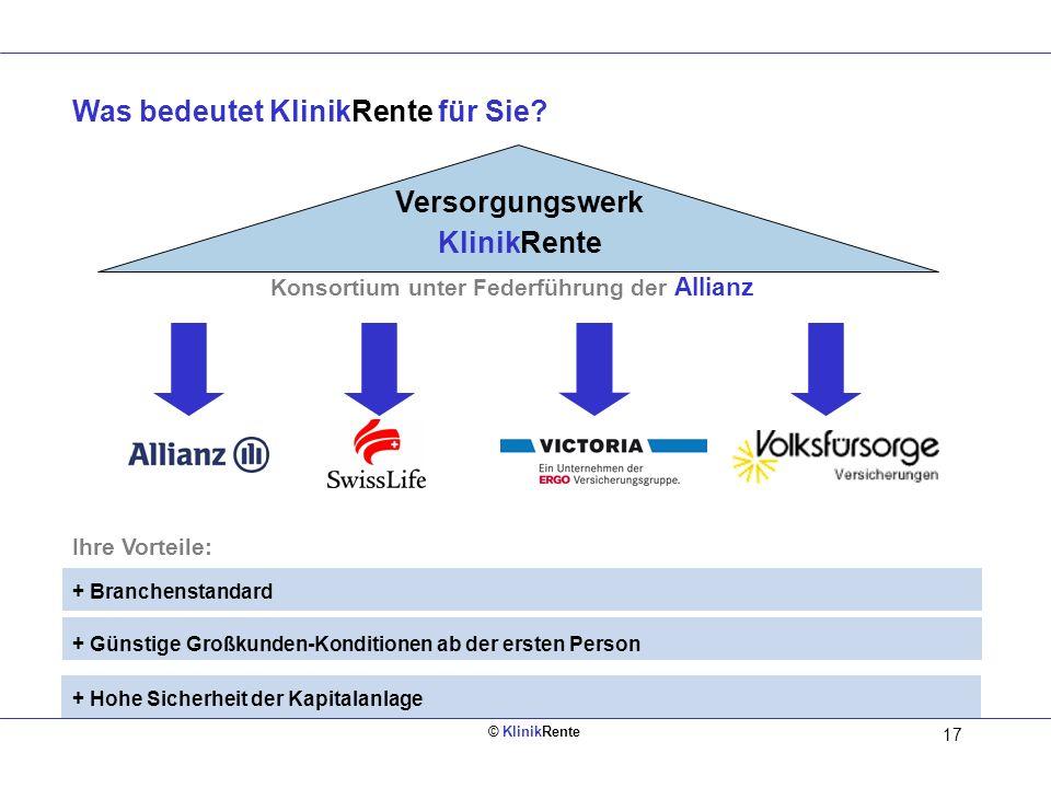 © KlinikRente 16 1. Aufbau zusätzlicher Altersversorgung aus dem Brutto. 2. Rentabilität durch Lohnsteuerersparnis während der aktiven Zeit. 3. Rentab