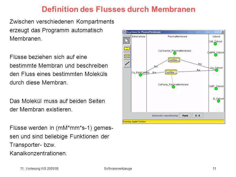 11. Vorlesung WS 2005/06Softwarewerkzeuge11 Definition des Flusses durch Membranen Zwischen verschiedenen Kompartments erzeugt das Programm automatisc