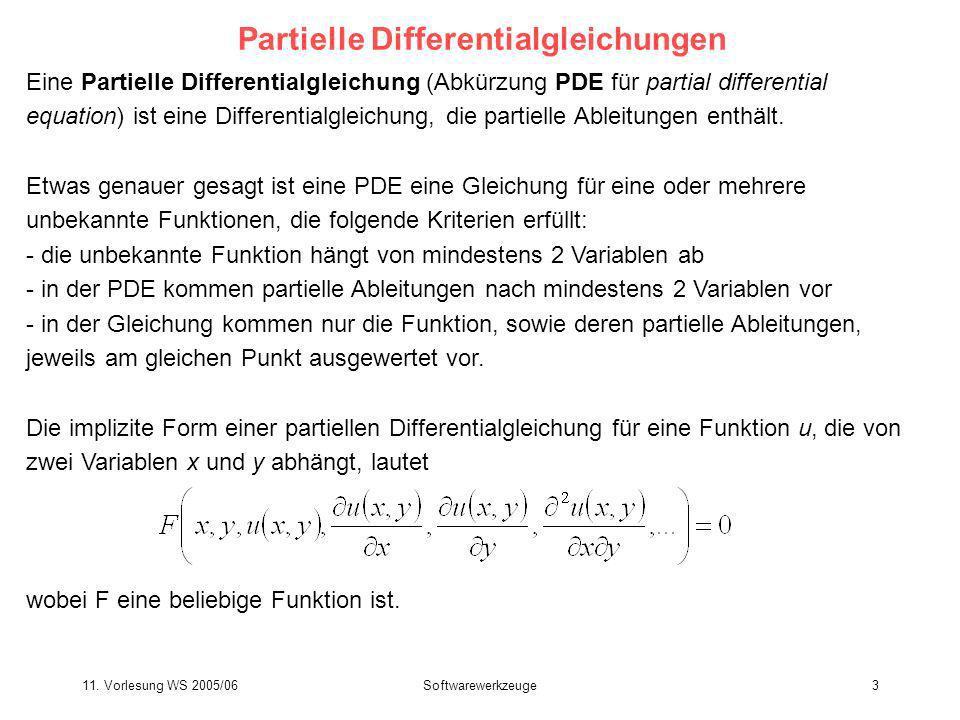 11. Vorlesung WS 2005/06Softwarewerkzeuge3 Eine Partielle Differentialgleichung (Abkürzung PDE für partial differential equation) ist eine Differentia
