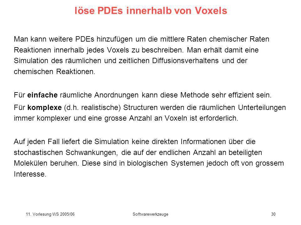 11. Vorlesung WS 2005/06Softwarewerkzeuge30 löse PDEs innerhalb von Voxels Man kann weitere PDEs hinzufügen um die mittlere Raten chemischer Raten Rea