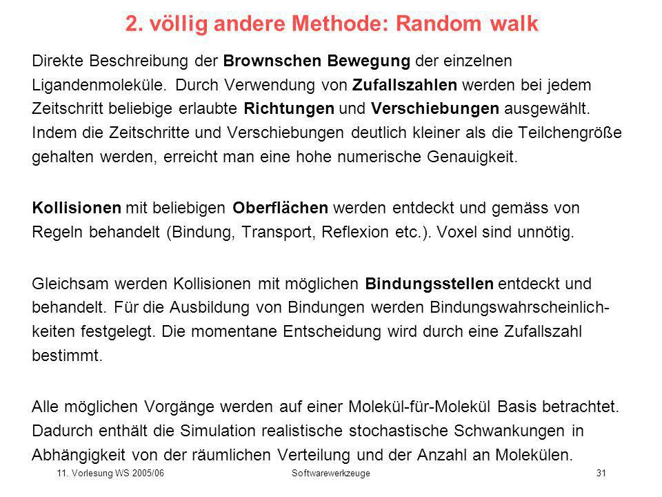 11. Vorlesung WS 2005/06Softwarewerkzeuge31 2. völlig andere Methode: Random walk Direkte Beschreibung der Brownschen Bewegung der einzelnen Ligandenm