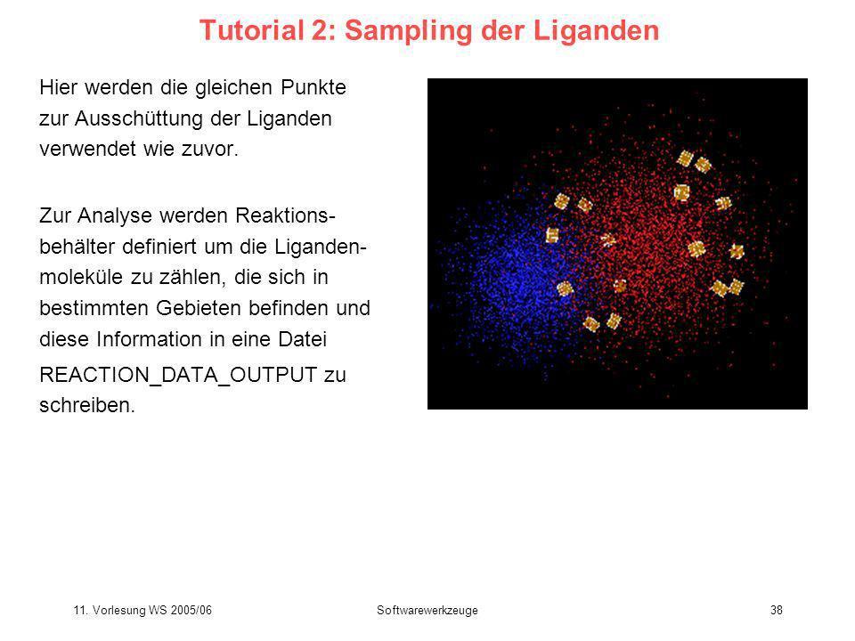 11. Vorlesung WS 2005/06Softwarewerkzeuge38 Tutorial 2: Sampling der Liganden Hier werden die gleichen Punkte zur Ausschüttung der Liganden verwendet