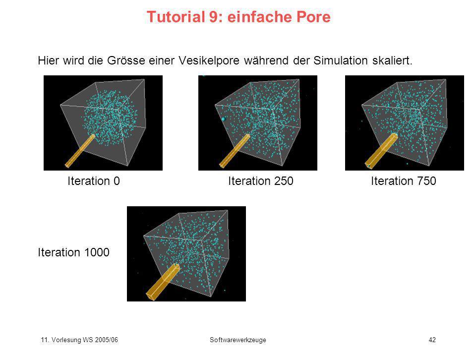 11. Vorlesung WS 2005/06Softwarewerkzeuge42 Tutorial 9: einfache Pore Hier wird die Grösse einer Vesikelpore während der Simulation skaliert. Iteratio