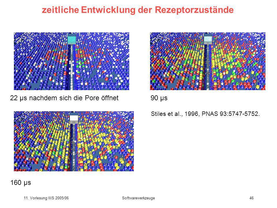 11. Vorlesung WS 2005/06Softwarewerkzeuge46 zeitliche Entwicklung der Rezeptorzustände Stiles et al., 1996, PNAS 93:5747-5752. 22 μs nachdem sich die