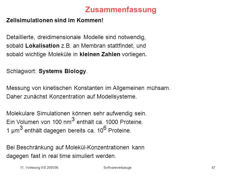 11. Vorlesung WS 2005/06Softwarewerkzeuge47 Zusammenfassung Zellsimulationen sind im Kommen! Detaillierte, dreidimensionale Modelle sind notwendig, so