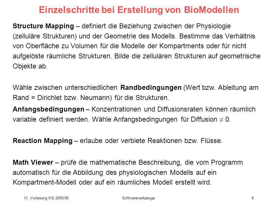 11. Vorlesung WS 2005/06Softwarewerkzeuge8 Einzelschritte bei Erstellung von BioModellen Structure Mapping – definiert die Beziehung zwischen der Phys