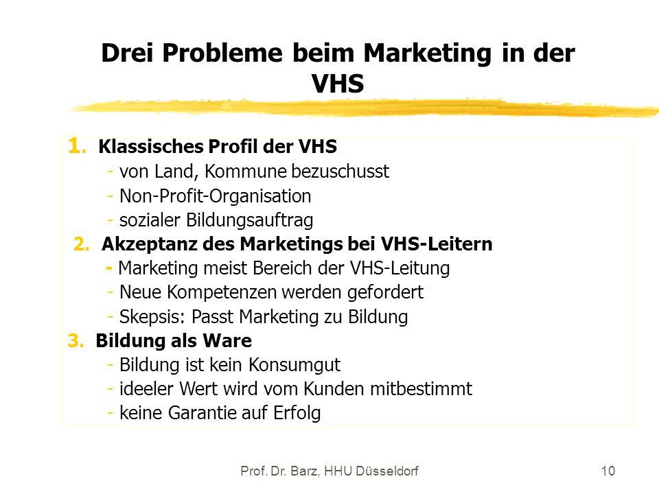 Prof. Dr. Barz, HHU Düsseldorf10 1. Klassisches Profil der VHS - von Land, Kommune bezuschusst - Non-Profit-Organisation - sozialer Bildungsauftrag 2.
