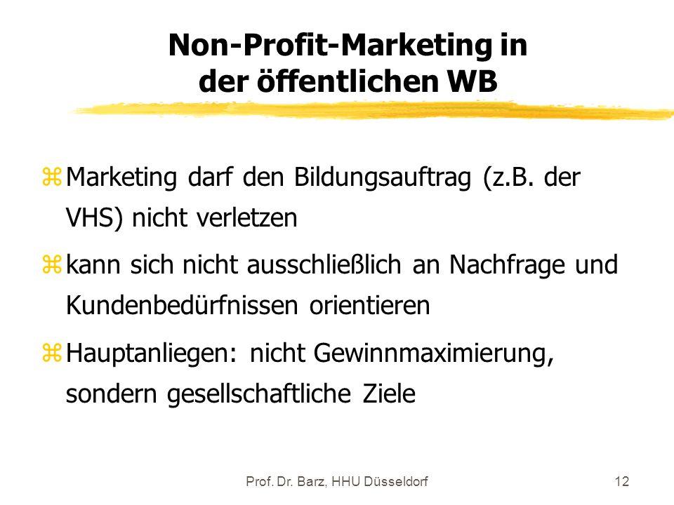 Prof. Dr. Barz, HHU Düsseldorf12 zMarketing darf den Bildungsauftrag (z.B. der VHS) nicht verletzen zkann sich nicht ausschließlich an Nachfrage und K
