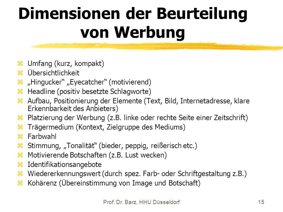 Prof. Dr. Barz, HHU Düsseldorf15 Dimensionen der Beurteilung von Werbung zUmfang (kurz, kompakt) zÜbersichtlichkeit zHingucker Eyecatcher (motivierend