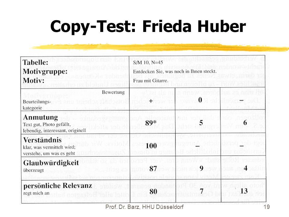 Prof. Dr. Barz, HHU Düsseldorf19 Copy-Test: Frieda Huber