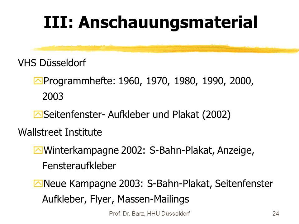 Prof. Dr. Barz, HHU Düsseldorf24 VHS Düsseldorf yProgrammhefte: 1960, 1970, 1980, 1990, 2000, 2003 ySeitenfenster- Aufkleber und Plakat (2002) Wallstr