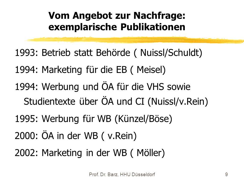Prof. Dr. Barz, HHU Düsseldorf9 1993: Betrieb statt Behörde ( Nuissl/Schuldt) 1994: Marketing für die EB ( Meisel) 1994: Werbung und ÖA für die VHS so