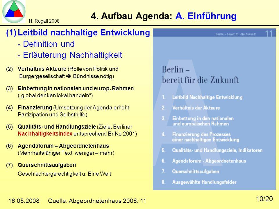 H. Rogall 2008 16.05.2008 Quelle: Abgeordnetenhaus 2006: 11 10/20 4. Aufbau Agenda: A. Einführung (1)Leitbild nachhaltige Entwicklung - Definition und