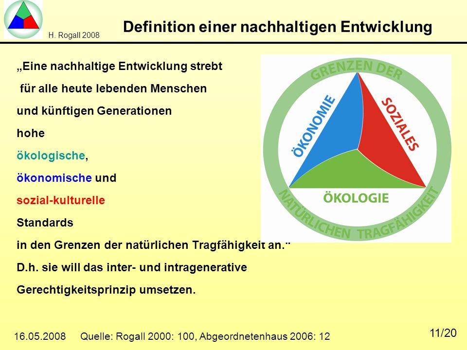 H. Rogall 2008 16.05.2008 Quelle: Rogall 2000: 100, Abgeordnetenhaus 2006: 12 11/20 Definition einer nachhaltigen Entwicklung Eine nachhaltige Entwick