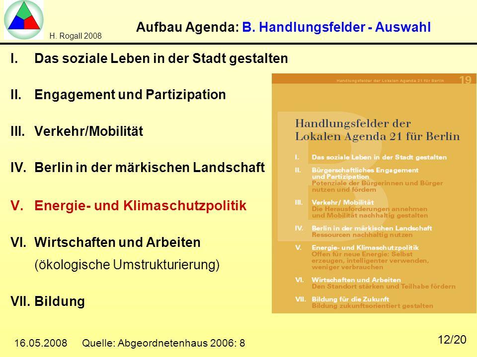H. Rogall 2008 16.05.2008 Quelle: Abgeordnetenhaus 2006: 8 12/20 Aufbau Agenda: B. Handlungsfelder - Auswahl I.Das soziale Leben in der Stadt gestalte