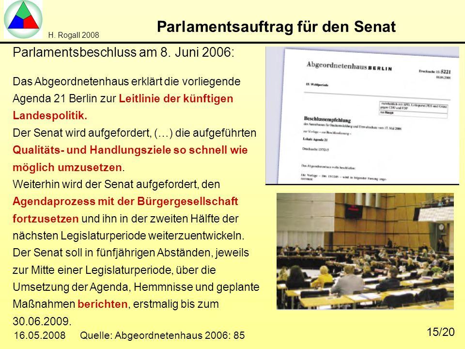 H. Rogall 2008 16.05.2008 Quelle: Abgeordnetenhaus 2006: 85 15/20 Parlamentsauftrag für den Senat Parlamentsbeschluss am 8. Juni 2006: Das Abgeordnete