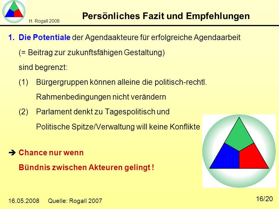 H. Rogall 2008 16.05.2008 Quelle: Rogall 2007 16/20 Persönliches Fazit und Empfehlungen 1.Die Potentiale der Agendaakteure für erfolgreiche Agendaarbe