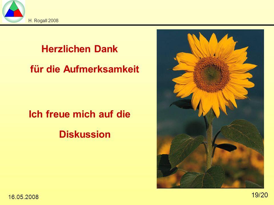 H. Rogall 2008 16.05.2008 19/20 Herzlichen Dank für die Aufmerksamkeit Ich freue mich auf die Diskussion