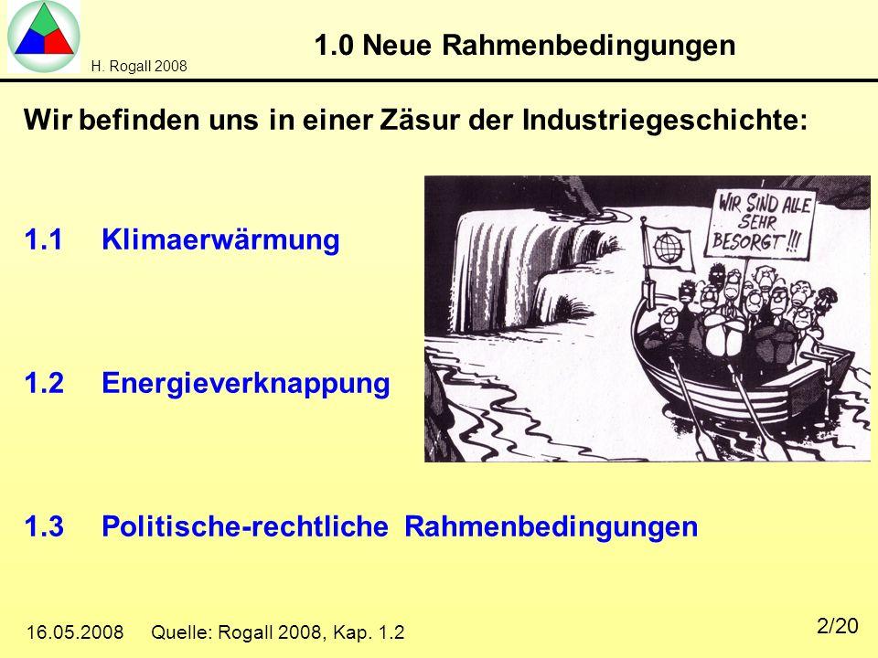 H. Rogall 2008 16.05.2008 Quelle: Rogall 2008, Kap. 1.2 2/20 1.0 Neue Rahmenbedingungen Wir befinden uns in einer Zäsur der Industriegeschichte: 1.1Kl