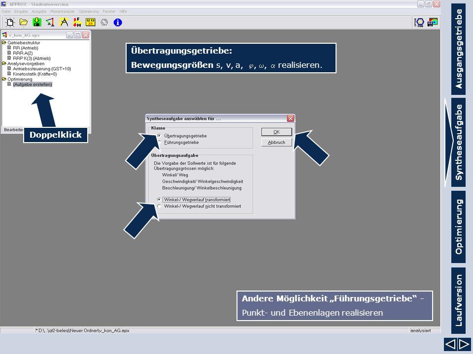 Ausgangsgetriebe Syntheseaufgabe Laufversion Optimierung Andere Möglichkeit Führungsgetriebe - Punkt- und Ebenenlagen realisieren Doppelklick Übertrag