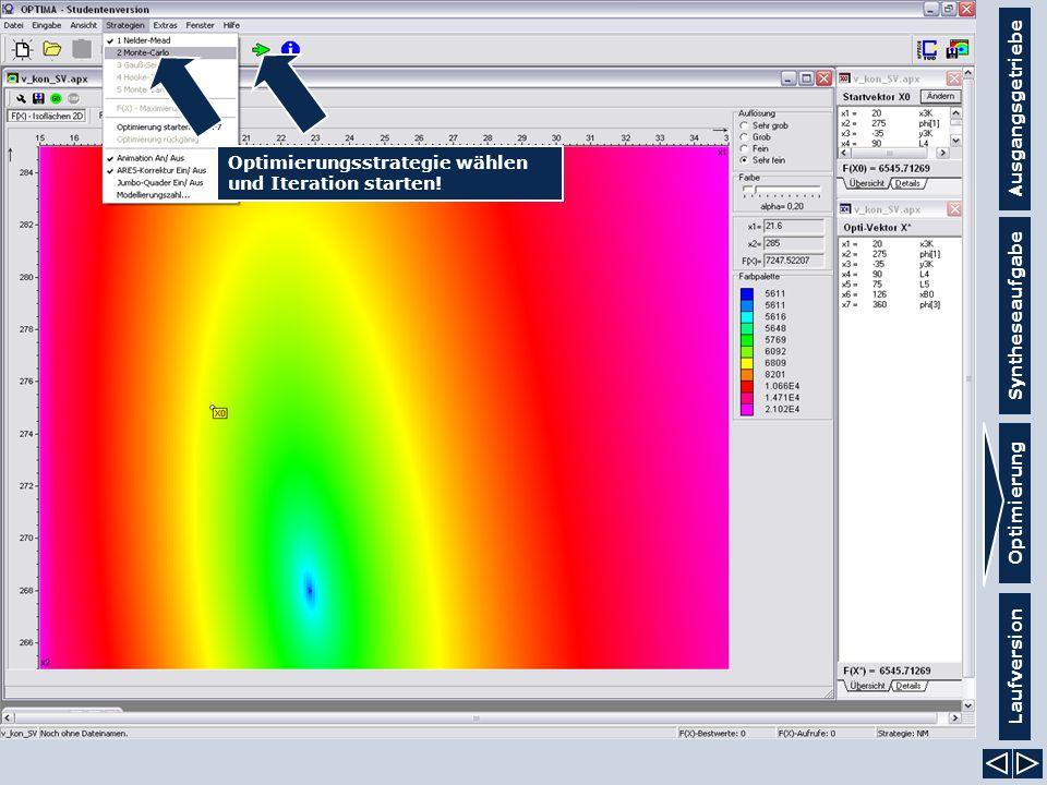 Ausgangsgetriebe Syntheseaufgabe Laufversion Optimierung Optimierungsstrategie wählen und Iteration starten!