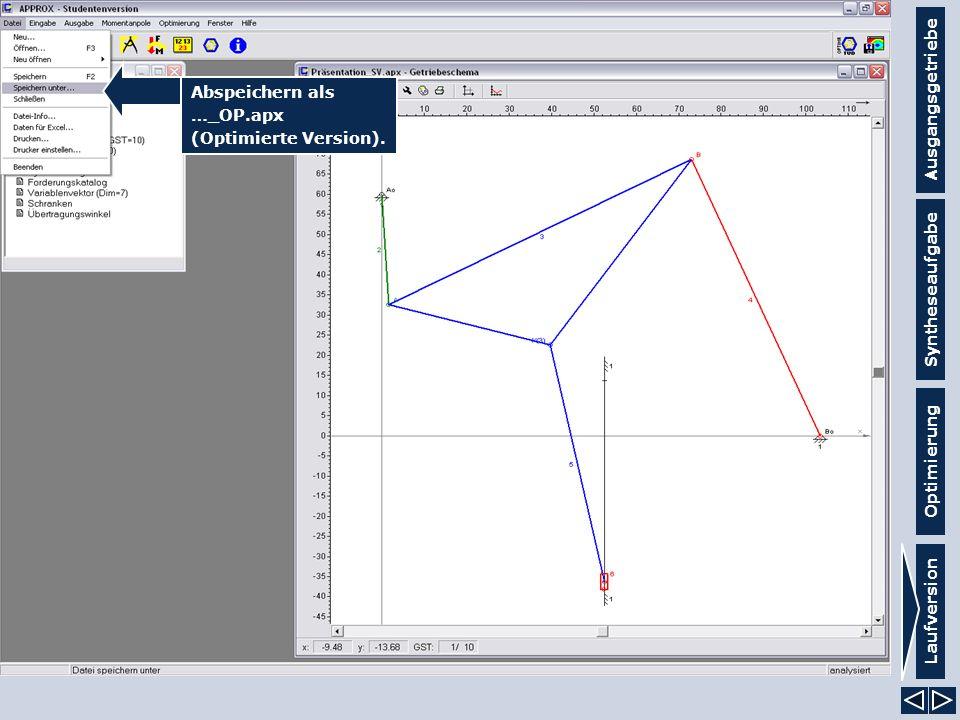 Ausgangsgetriebe Syntheseaufgabe Laufversion Optimierung Abspeichern als …_OP.apx (Optimierte Version).
