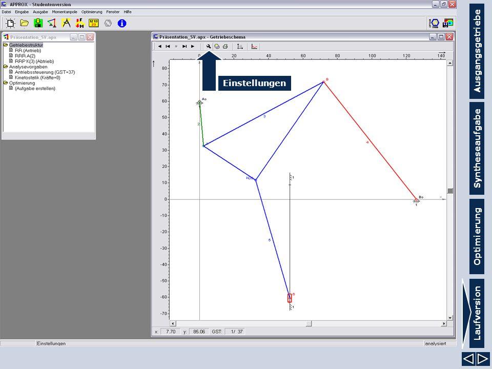 Ausgangsgetriebe Syntheseaufgabe Laufversion Optimierung Einstellungen