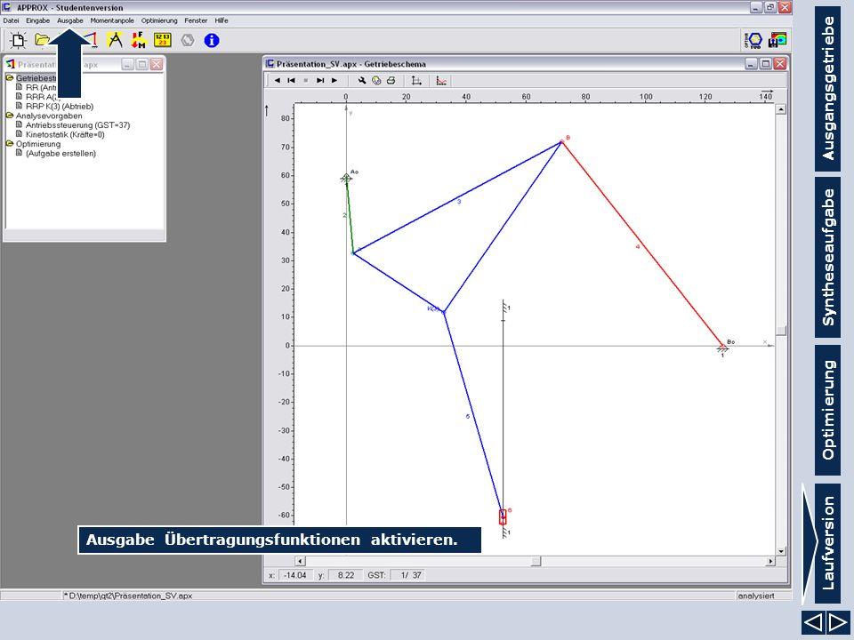 Ausgangsgetriebe Syntheseaufgabe Laufversion Optimierung Ausgabe Übertragungsfunktionen aktivieren.