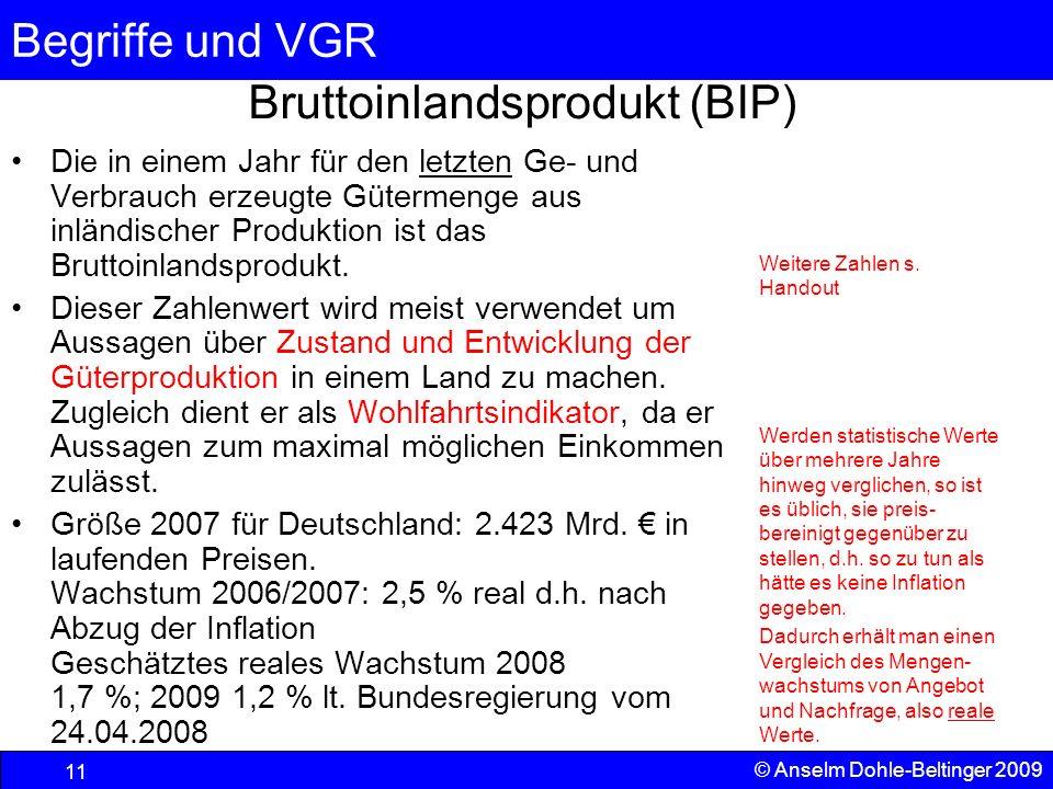 Begriffe und VGR 11 © Anselm Dohle-Beltinger 2009 Bruttoinlandsprodukt (BIP) Die in einem Jahr für den letzten Ge- und Verbrauch erzeugte Gütermenge a