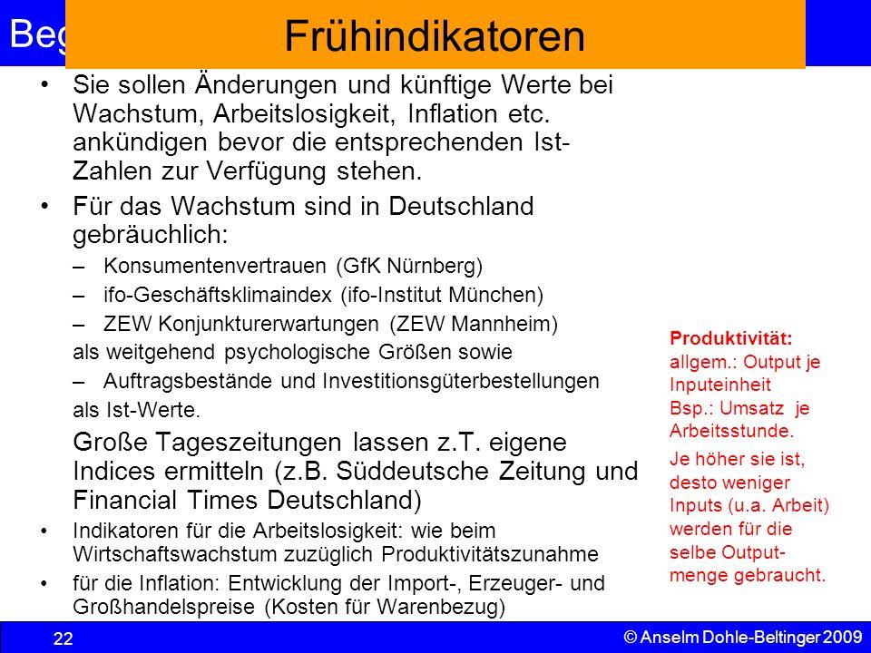 Begriffe und VGR 22 © Anselm Dohle-Beltinger 2009 Frühindikatoren Sie sollen Änderungen und künftige Werte bei Wachstum, Arbeitslosigkeit, Inflation e