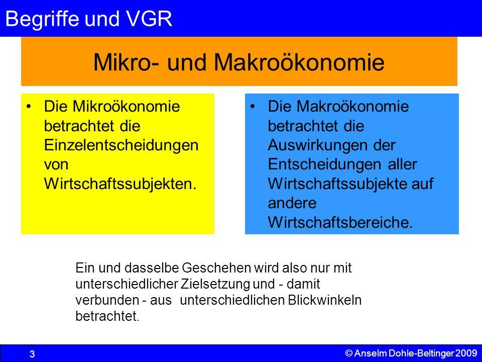 Begriffe und VGR 14 © Anselm Dohle-Beltinger 2009 Zur Verwandtschaft von Gütererzeugung und Faktoreinkommen (2) Den Unterschiedsbetrag zwischen dem, was wir einfach eingekauft haben und dem wie viel wir für unsere Ware bekommen können, bezeichnen wir als Wertschöpfung, also das was wir selber mit Know-how, Kapital und Boden zum Marktwert des Produktes beigetragen haben.