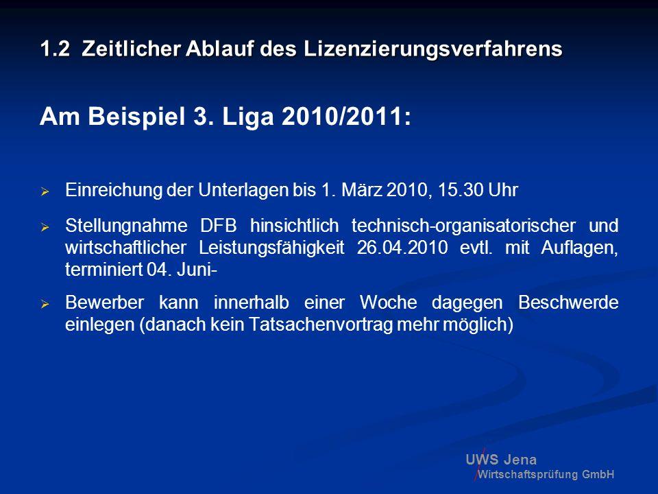 UWS Jena Wirtschaftsprüfung GmbH 1.2 Zeitlicher Ablauf des Lizenzierungsverfahrens Am Beispiel 3. Liga 2010/2011: Einreichung der Unterlagen bis 1. Mä