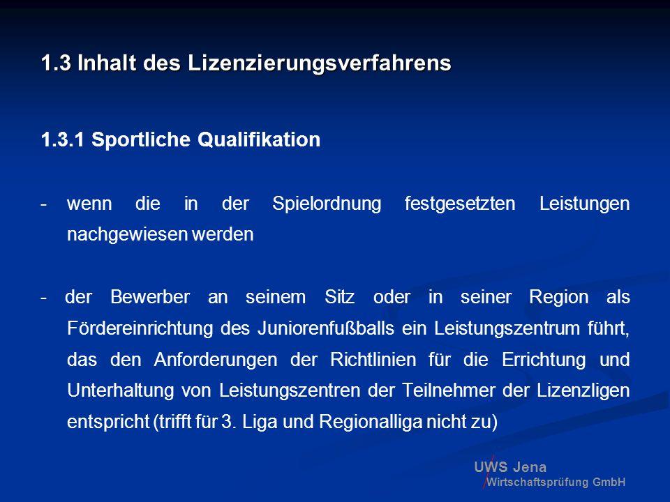 UWS Jena Wirtschaftsprüfung GmbH 1.3 Inhalt des Lizenzierungsverfahrens 1.3.1 Sportliche Qualifikation -wenn die in der Spielordnung festgesetzten Lei
