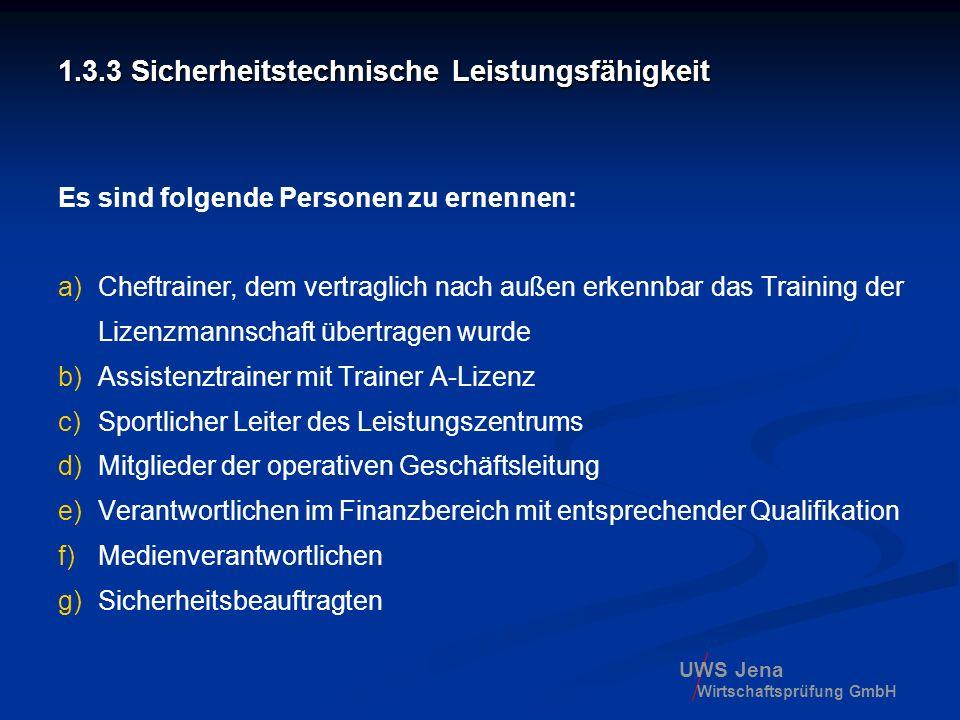 UWS Jena Wirtschaftsprüfung GmbH 1.3.3 Sicherheitstechnische Leistungsfähigkeit Es sind folgende Personen zu ernennen: a)Cheftrainer, dem vertraglich