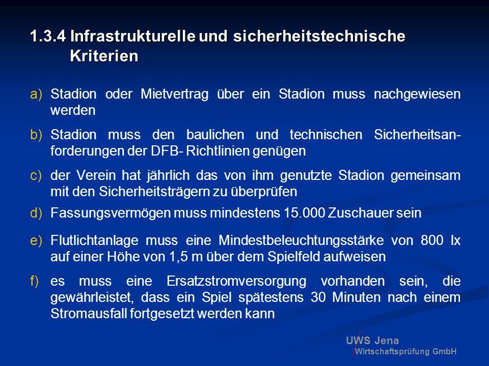 UWS Jena Wirtschaftsprüfung GmbH 1.3.4 Infrastrukturelle und sicherheitstechnische Kriterien a)Stadion oder Mietvertrag über ein Stadion muss nachgewi