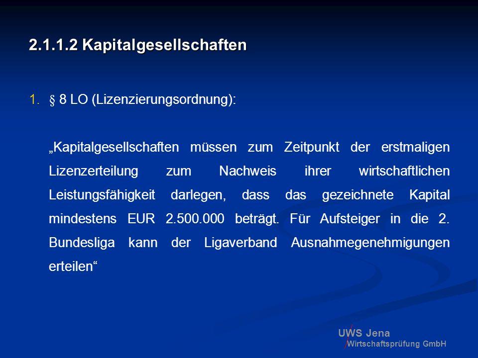 UWS Jena Wirtschaftsprüfung GmbH 2.1.1.2 Kapitalgesellschaften 1.§ 8 LO (Lizenzierungsordnung): Kapitalgesellschaften müssen zum Zeitpunkt der erstmal